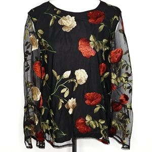 Dalia black bell sleeve floral embroidered top Sm